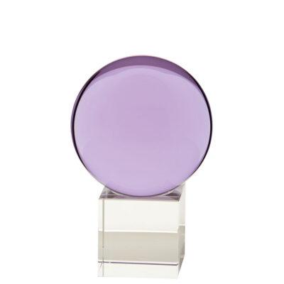 gekleurde glazen bol op sokkel AMETHIST | GlazenBollen.NL
