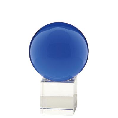 gekleurde glazen bol op sokkel AQUAMARIJN | GlazenBollen.NL