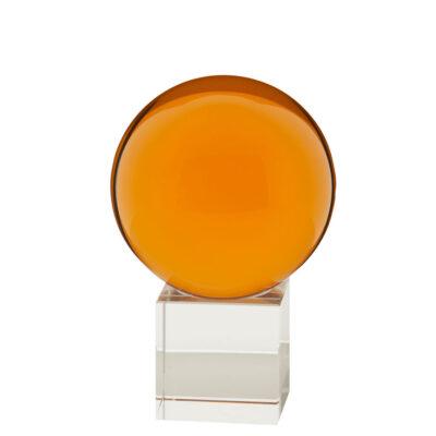 gekleurde glazen bol op sokkel BARNSTEEN GEEL | GlazenBollen.NL
