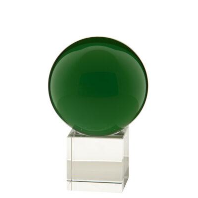 gekleurde glazen bol op sokkel GROEN | GlazenBollen.NL