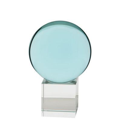 Gekleurde glazen bol op sokkel TURQUOISE   GlazenBollen.NL