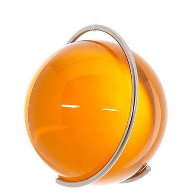 Gekleurde glazen bol GEEL in metalen ring DE PURE   GlazenBollen.NL