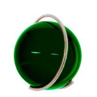 Gekleurde glazen bol GROEN in metalen ring DE PURE | GlazenBollen.NL