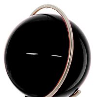 Gekleurde glazen bol ZWART in metalen ring DE PURE | GlazenBollen.NL